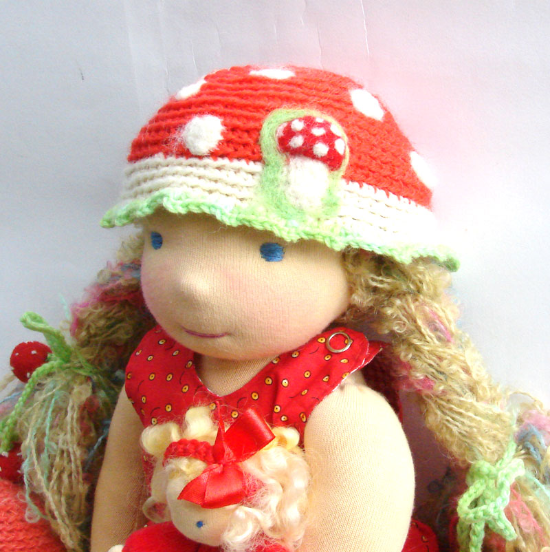 waldorf doll  Amanita 16 in, red hat